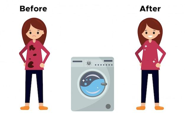 A menina em uma camiseta suja antes de lavar e depois de lavar na máquina de lavar roupa.