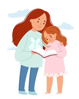 A menina ensina sua irmã mais nova a ler