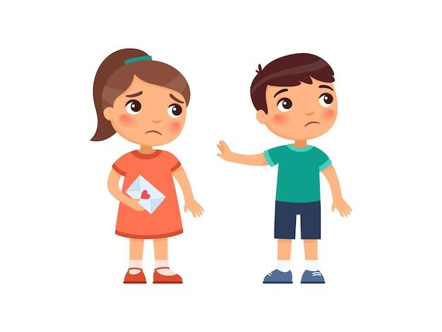 A menina entrega uma carta de amor ao menino e é rejeitada. conceito do primeiro amor psicologia infantil coração partido personagens de desenhos animados