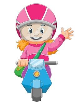 A menina está andando de moto e acenando com a mão da ilustração