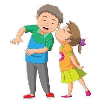 A menina está beijando o irmão da ilustração
