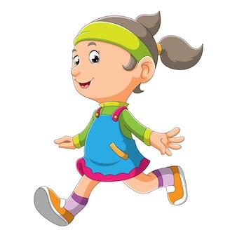 A menina está correndo com a cara feliz da ilustração