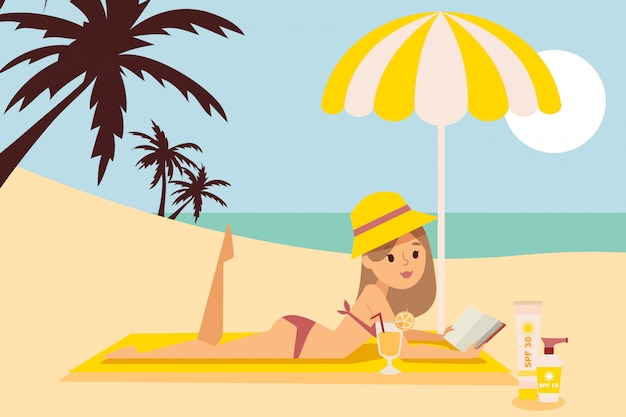 A menina está descansando na praia sob o guarda-chuva, leia o livro, chapéu, beira-mar, frente para o mar, protetor solar, spf 10, 30, coquetel de frutas, ilustração plana.