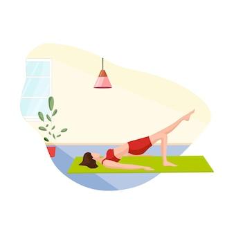 A menina está fazendo ioga. exercícios esportivos em casa.