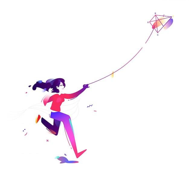 A menina está lançando uma pipa.