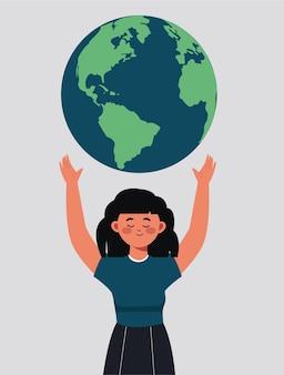 A menina está segurando a conservação da biodiversidade da natureza do planeta terra como cuidado com a proteção ou preservação ilustração ecossistema consciência climática ecológica e conceito de pessoa planeta verde