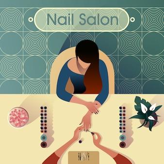 A menina faz uma manicure em um salão de beleza, ilustração moderna da vida urbana.