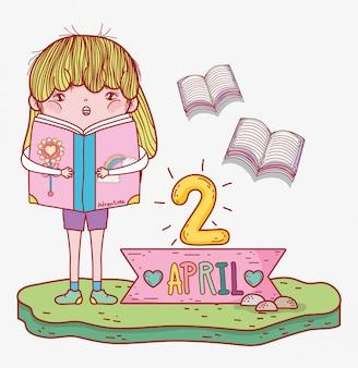 A menina leu a informação de livros ao dia de literatura