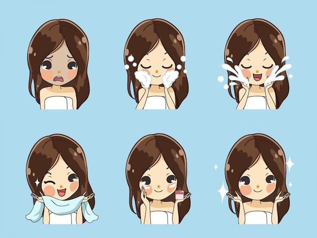 A menina mostra o procedimento para limpar o rosto completamente e nutrir o rosto para ficar bonito para os mais jovens, sem rugas.