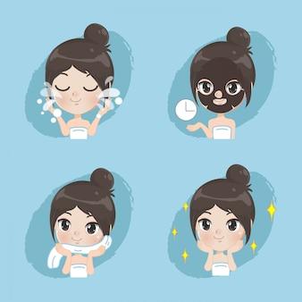 A menina mostra o processo de cuidados da pele facial