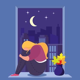 A menina na depressão senta-se perto da janela na sala, mulher nova, triste sozinha e ansiosa, projeto, ilustração do estilo dos desenhos animados.