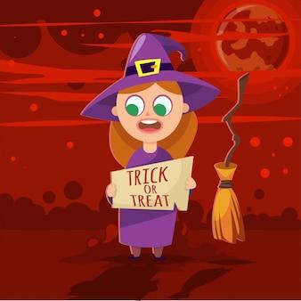 A menina no dia das bruxas caçoa a ilustração dos desenhos animados do vetor do traje.