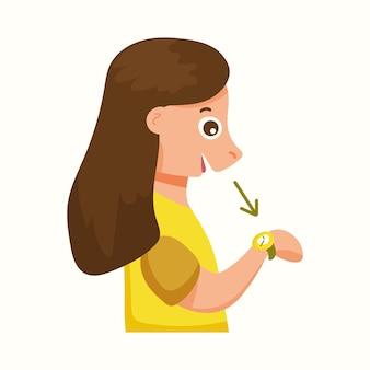 A menina olha para o relógio. ilustração vetorial em estilo simples