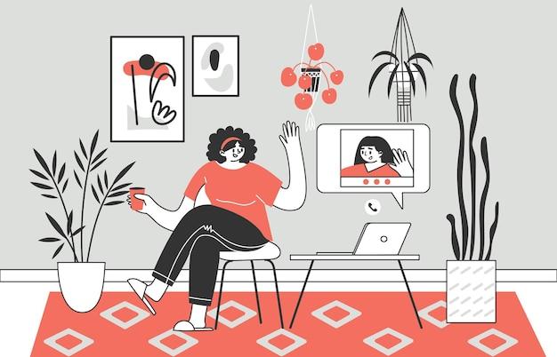 A menina ou mulher se comunica remotamente via chat de vídeo.