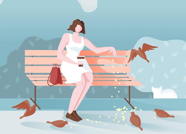 A menina pensativa no parque senta e alimenta o desenho dos pássaros.