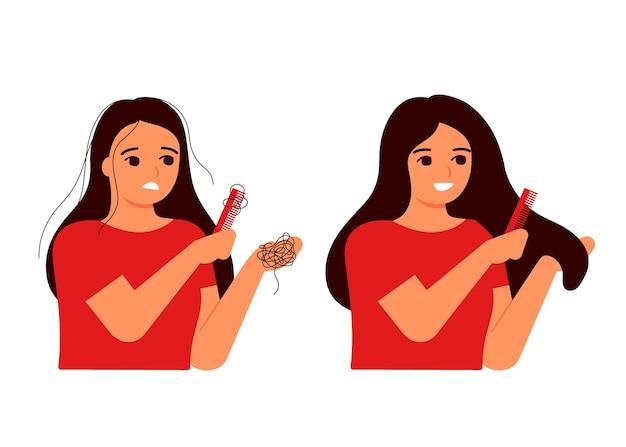 A menina penteia o cabelo, cabelo no pente, queda. perda de cabelo, calvície, fragilidade, conceito de alopecia. cabelo antes e depois. o cabelo fino da mulher está associado a problemas, estresse, hormônios, nutrição.