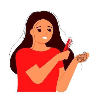 A menina penteia o cabelo. perda de cabelo, calvície, conceito de alopecia.