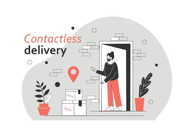 A menina recebe os pacotes por entrega sem contato, sem cruzar o correio. forma de proteção covid-19 ou coronavírus. ilustração vetorial plana.