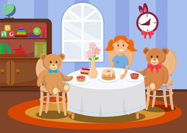 A menina senta-se no jardim de infância com os brinquedos do urso na tabela.