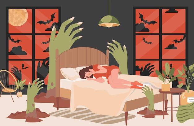 A menina tem monstros de pesadelo, mãos verdes assustadoras