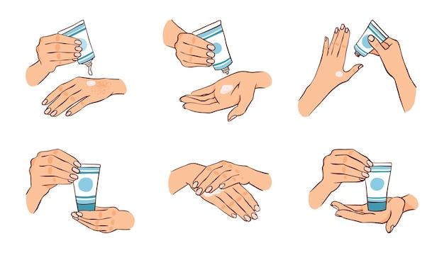 A menina usa um creme para as mãos secas conjunto de vetores com as mãos segurando um tubo de creme cuidados com o corpo