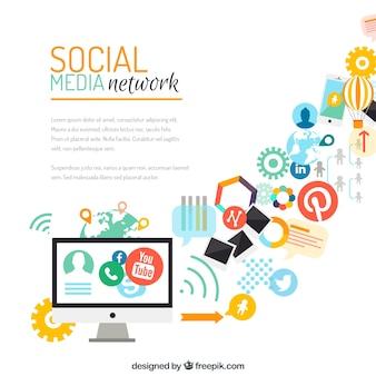 A mídia social fundo da rede