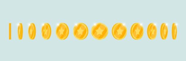 A moeda de ouro 3d de dinheiro gira em torno do conjunto de posições diferentes para animação de jogos ou aplicativos. elementos de rotação de vitória de pôquer de cassino de jackpot de bingo. ilustração em vetor plana conceito tesouro de dinheiro