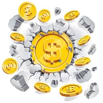 A moeda de um dólar de ouro rompendo o fundo da parede de concreto.
