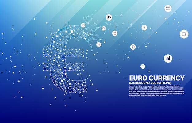 A moeda do euro do dinheiro do vetor do ponto do polígono conecta a linha. conceito para a conexão de rede financeira de europa.