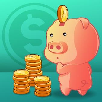 A moeda está sendo colocada no cofrinho.