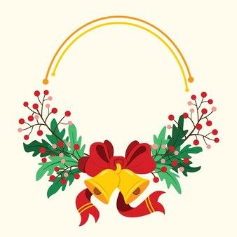 A moldura do buquê com sino, fita de arco e espaço para palavras para o natal