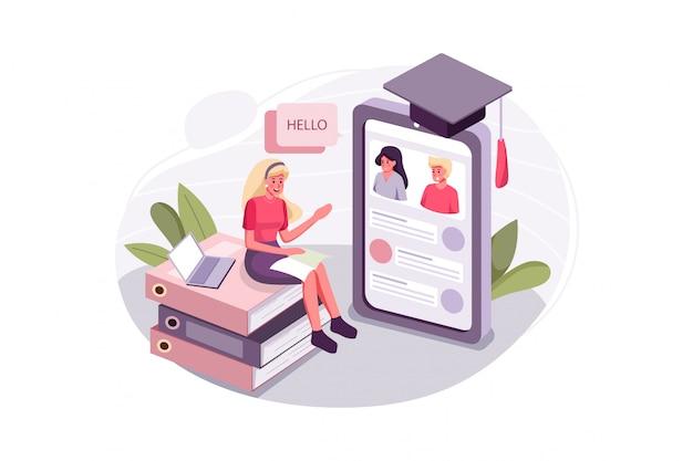 A mulher aprende habilidades de comunicação com aulas online.