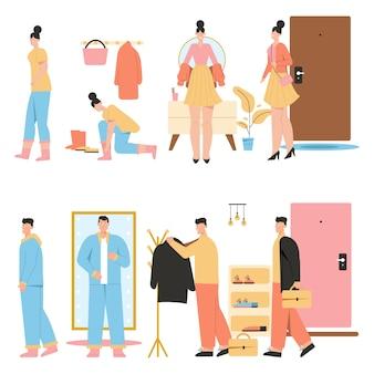 A mulher chega em casa e veste uma roupa confortável. o homem retorna do trabalho, vestindo roupas no corredor.