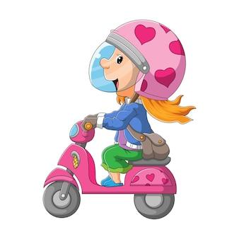 A mulher com o capacete brilhante está andando na motocicleta da ilustração