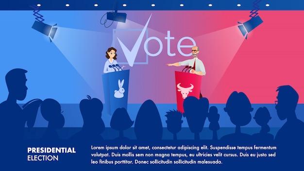 A mulher da ilustração escuta seu oponente político