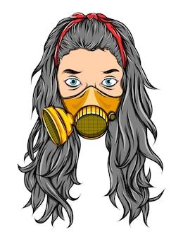 A mulher de cabelo comprido usando a máscara de respiração dourada