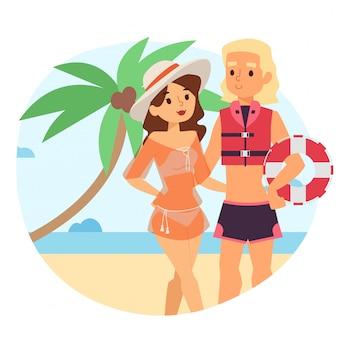 A mulher de descanso perto do caráter da salva-vidas da praia para atividades seguras do mar resulta, ilustração. observação de visitantes da praia