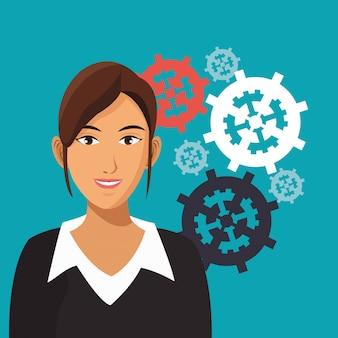 A mulher de negócios engrena a cooperação no trabalho