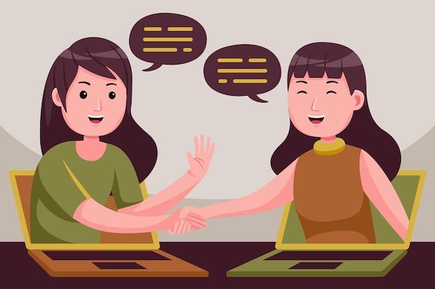 A mulher de negócios faz negócios à distância virtualmente apertando as mãos em telas de laptop.