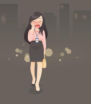 A mulher de vestido de trabalho está bocejando enquanto ela está indo para casa, horas extras, ilustração vetorial no design de personagens