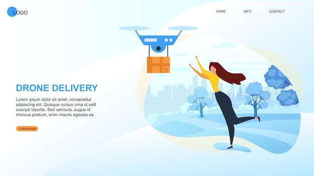 A mulher dos desenhos animados recebe o pacote. dron devivery