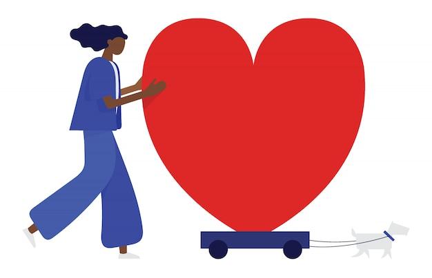 A mulher e seu cachorro estão movendo o coração no riquixá