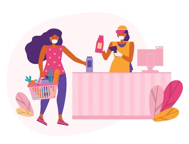 A mulher em uma máscara médica protetora compra comida em um supermercado. vendedor no caixa com scanner de código de barras. mantenha uma distância segura na loja. o cliente coloca suas compras na finalização da compra para pagamento