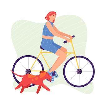 A mulher está andando de bicicleta. um cachorro está correndo ao lado dela. no estilo cartoon.