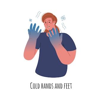 A mulher está com febre e as mãos dela estão congeladas. a menina pegou um resfriado e pegou um vírus