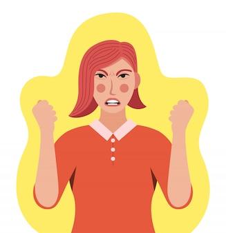 A mulher está com raiva. descontentamento