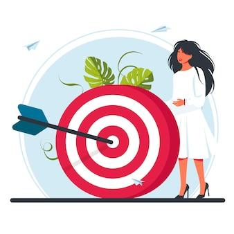 A mulher está no alvo. mova a motivação, o caminho para a realização da meta, o trabalho em equipe contratado com sucesso. business vision, um grande alvo para as mulheres, corre para o seu objetivo. ilustração vetorial