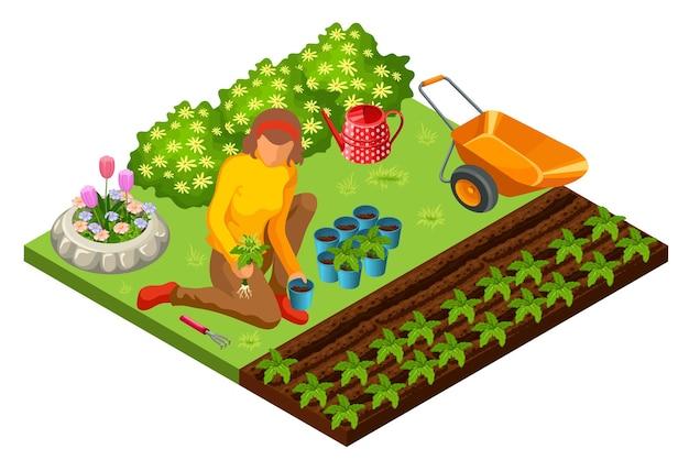 A mulher esta trabalhando no jardim