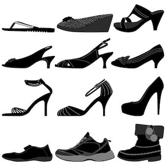 A mulher fêmea da menina calça calçados.