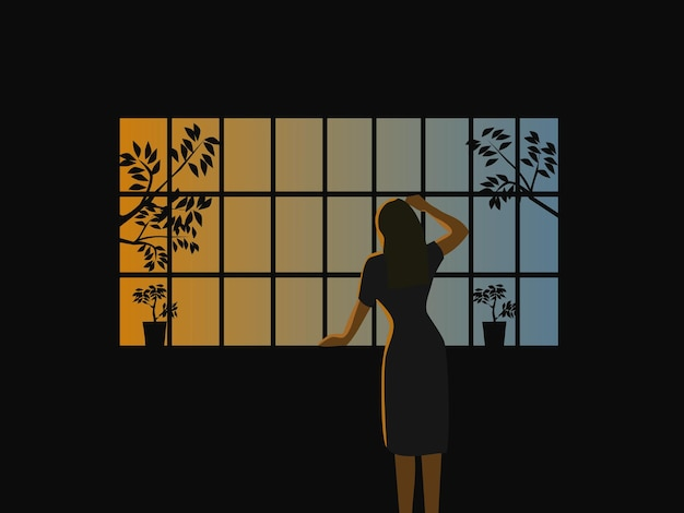 A mulher ficou olhando pela janela com o sol da manhã ao fundo